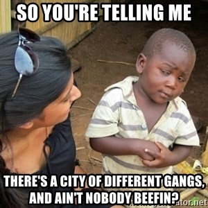 Skeptical 3rd World Kid - so you're telling me there's a city of different gangs, and ain't nobody beefin?