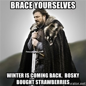 Game of Thrones - brace yourselves winter is coming back.  bosky bought strawberries