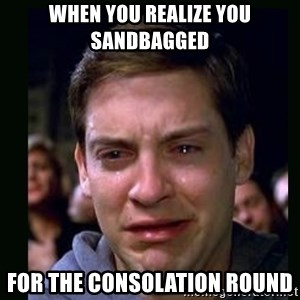 crying peter parker - when you realize you sandbagged for the consolation round