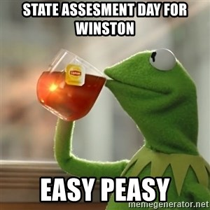 Kermit The Frog Drinking Tea - State Assesment day for Winston Easy Peasy