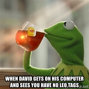 Kermit The Frog Drinking Tea - When David gets on his computer and sees you have no LEO tags