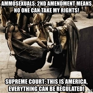 sparta kick - Ammosexuals: 2nd Amendment means no one can take my rights!  Supreme Court: This is America, everything can be regulated!