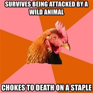 Anti Joke Chicken - Survives being attacked by a wild animal Chokes to death on a staple