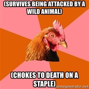 Anti Joke Chicken - (Survives being attacked by a wild animal) (chokes to death on a staple)