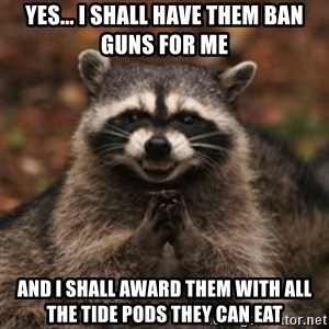 evil raccoon - Yes... I shall have them ban guns for me and I shall award them with all the tide pods they can eat