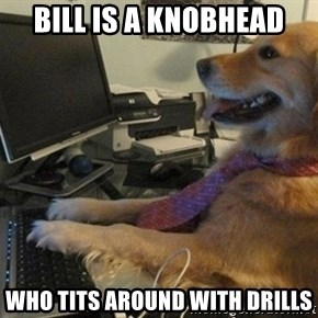 I have no idea what I'm doing - Dog with Tie - Bill is a knobhead Who tits around with drills