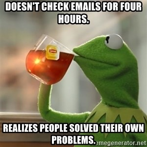 Kermit The Frog Drinking Tea - Doesn't check emails for four hours. Realizes people solved their own problems.