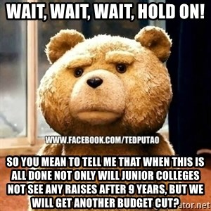 Ted Puto - Wait, wait, wait, hold on! So you mean to tell me that when this is all done not only will junior colleges not see any raises after 9 years, but we will get another budget cut?