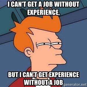 Futurama Fry - I can't get a job without experience, But i can't get experience without a job