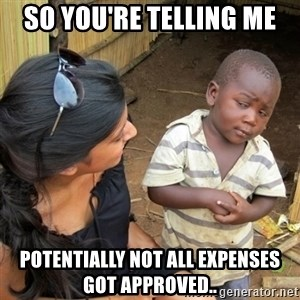 skeptical black kid - So you're telling me Potentially not all expenses got approved..