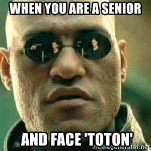 What If I Told You - when you are a senior  and face 'toton'
