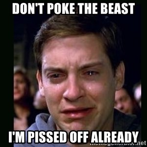 crying peter parker - don't poke the beast i'm pissed off already