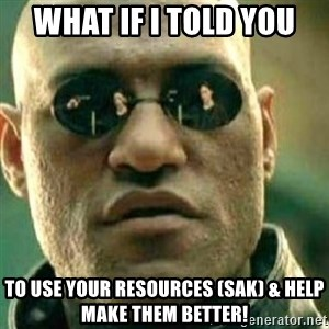 What If I Told You - what if i told you to use your resources (SAK) & help make them better!