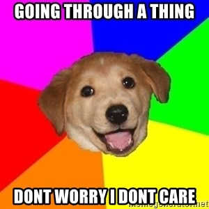Advice Dog - going through a thing  dont worry i dont care