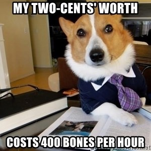 Dog Lawyer - MY TWO-CENTS' WORTH COSTS 400 BONES PER HOUR