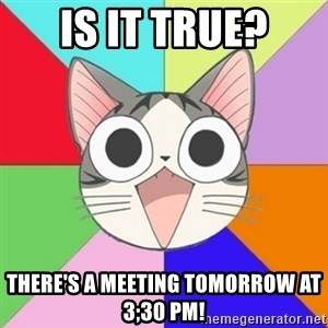 Nya Typical Anime Fans  - Is it true? There's a meeting tomorrow at 3;30 pm!