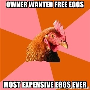 Anti Joke Chicken - Owner wanted free eggs Most expensive eggs ever