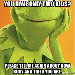 Kermit the frog - You have only two kids? Please tell me again about how busy and tired you are.