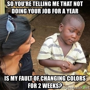 Skeptical 3rd World Kid - SO YOU'RE TELLING ME THAT NOT DOING YOUR JOB FOR A YEAR IS MY FAULT OF CHANGING COLORS FOR 2 WEEKS?