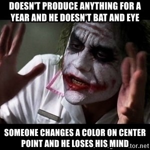 joker mind loss - DOESN'T PRODUCE ANYTHING FOR A YEAR AND HE DOESN'T BAT AND EYE SOMEONE CHANGES A COLOR ON CENTER POINT AND HE LOSES HIS MIND