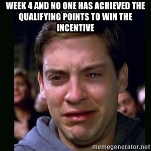 crying peter parker - Week 4 and no one has achieved the qualifying points to win the incentive