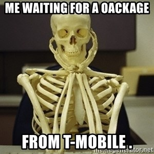 Skeleton waiting - Me waiting for a oackage from T-Mobile .