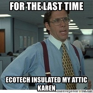 Yeah If You Could Just - For the last time  ecotech insulated my attic Karen
