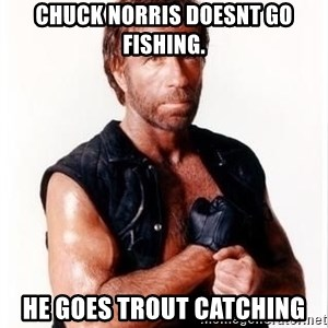 Chuck Norris Meme - Chuck Norris doesnt go fishing. He goes trout catching