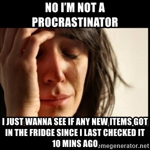 First World Problems - No I'm not a procrastinator  I just wanna see if any new items got in the fridge since I last checked it 10 mins ago