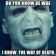 Angry Voldemort - do you know de wae i know  the way of death