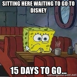 Coffee shop spongebob - Sitting here waiting to go to Disney 15 days to go...