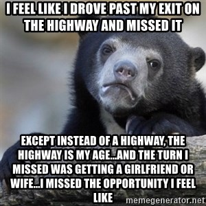 Confession Bear - I feel like I drove past my exit on the highway and missed it Except instead of a highway, the highway is my age...and the turn I missed was getting a girlfriend or wife...I missed the opportunity I feel like