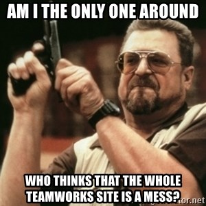 Walter Sobchak with gun - Am I the only one around who thinks that the whole TeamWorks site is a mess?