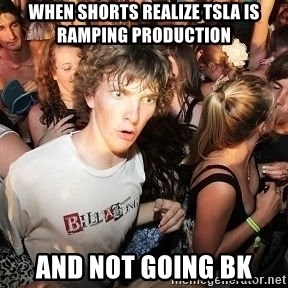 Sudden Realization Ralph - When Shorts realize TSLA is ramping production And not going BK
