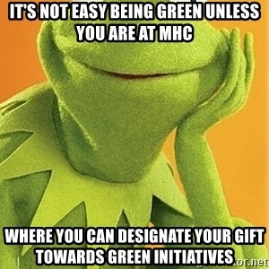 Kermit the frog - It's not easy being green unless you are at MHC Where you can designate your gift towards green initiatives