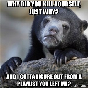 Confession Bear - Why did you kill yourself, just why? and I gotta figure out from a playlist you left me?