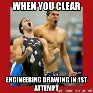 Ecstatic Michael Phelps - when you clear  engineering drawing in 1st attempt