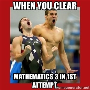 Ecstatic Michael Phelps - when you clear mathematics 3 in 1st attempt.