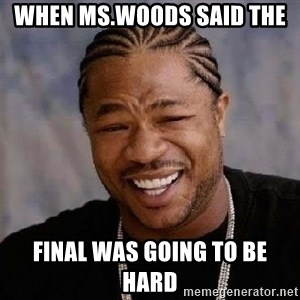 Yo Dawg - When Ms.Woods said the  final was going to be hard