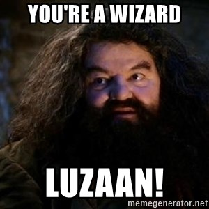 Yer A Wizard Harry Hagrid - You're a wizard Luzaan!