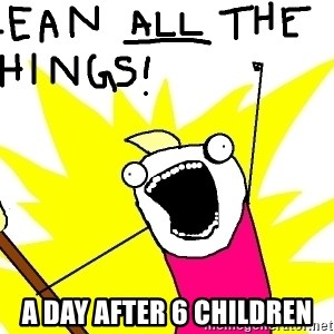clean all the things - a day after 6 children