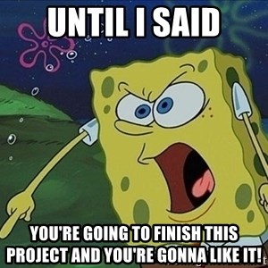 Spongebob Rage - Until I said You're going to finish this project and you're gonna like it!