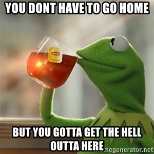 Kermit The Frog Drinking Tea - YOU DONT HAVE TO GO HOME BUT YOU GOTTA GET THE HELL OUTTA HERE