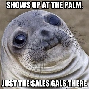 Awkward Seal - Shows up at the Palm, just the Sales gals there