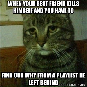 Depressed cat 2 - When your best friend kills himself and you have to find out why from a playlist he left behind