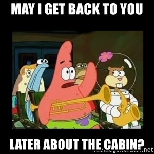 Patrick Star Instrument - May I get back to you later about the cabin?