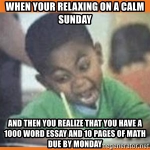I FUCKING LOVE  - When your relaxing on a calm Sunday  And then you realize that you have a 1000 word essay and 10 pages of math due by Monday