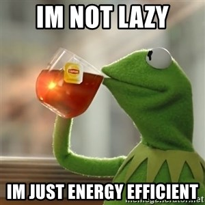 Kermit The Frog Drinking Tea - Im not lazy im just energy efficient