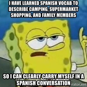 Tough Spongebob - I have learned spanish vocab to describe camping, supermarket shopping, and family members so i can clearly carry myself in a spanish conversation