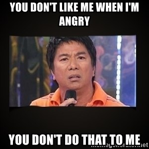 Willie Revillame me - You don't like me when I'm angry You don't do that to me